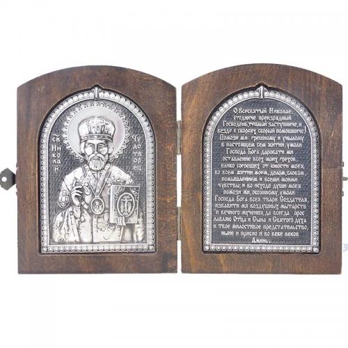 Серебряная икона Российская серебро Складень Николай чудотворец Хранитель