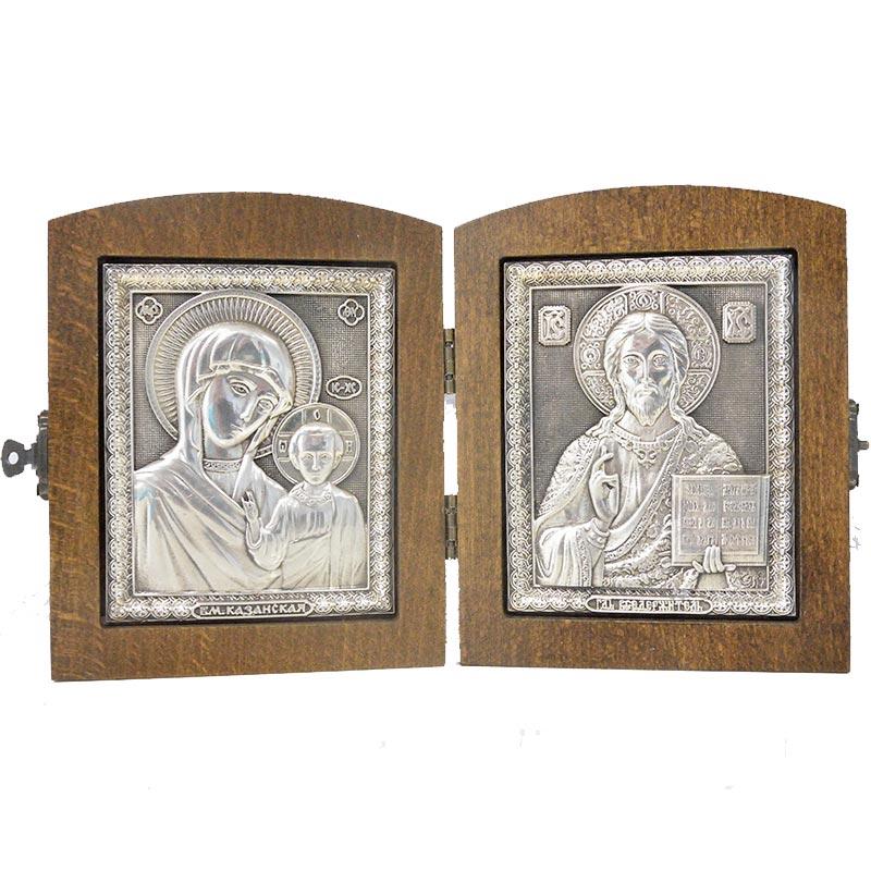Серебряная икона Российская серебро Складень Венчальный Казанская Иисус