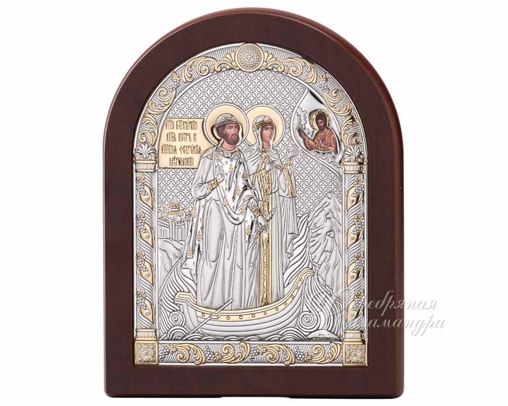 Серебряная Икона Петр и Феврония