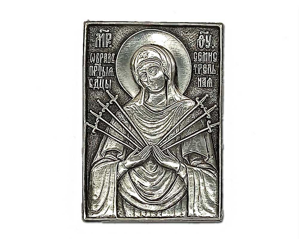 Серебряная икона Российская серебро Семистрельная божья матерь