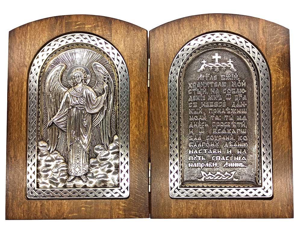 Серебряная икона Российская серебро Складень Ангел Хранитель