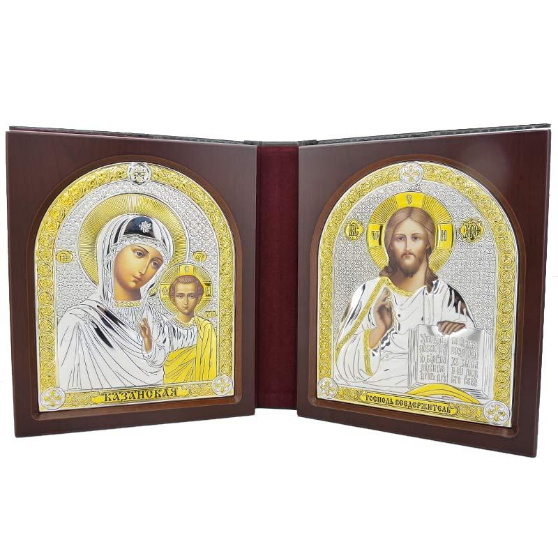 Купить Серебряный Складень Казанская Иисус BELTRAMI