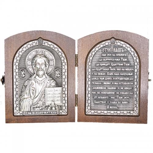Серебряная икона Российская серебро Складень Иисус Господь