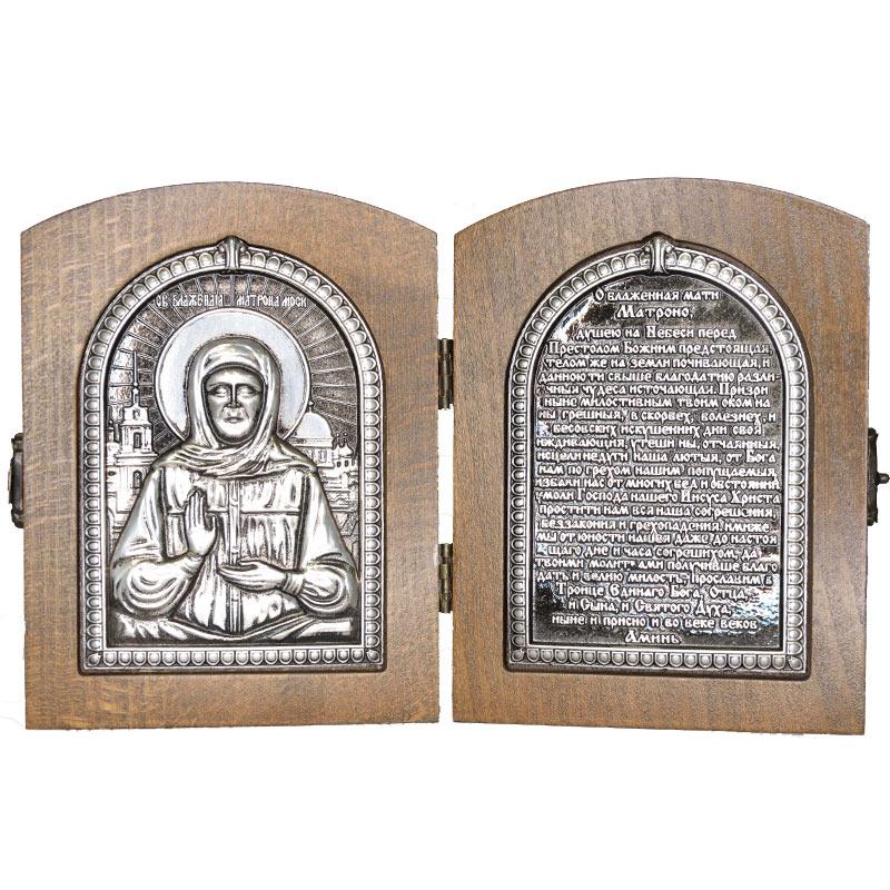 Серебряная икона Российская серебро Складень Матрона