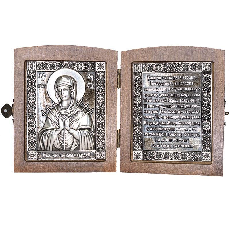 Серебряная икона Российская серебро Складень Умягчение злых сердец
