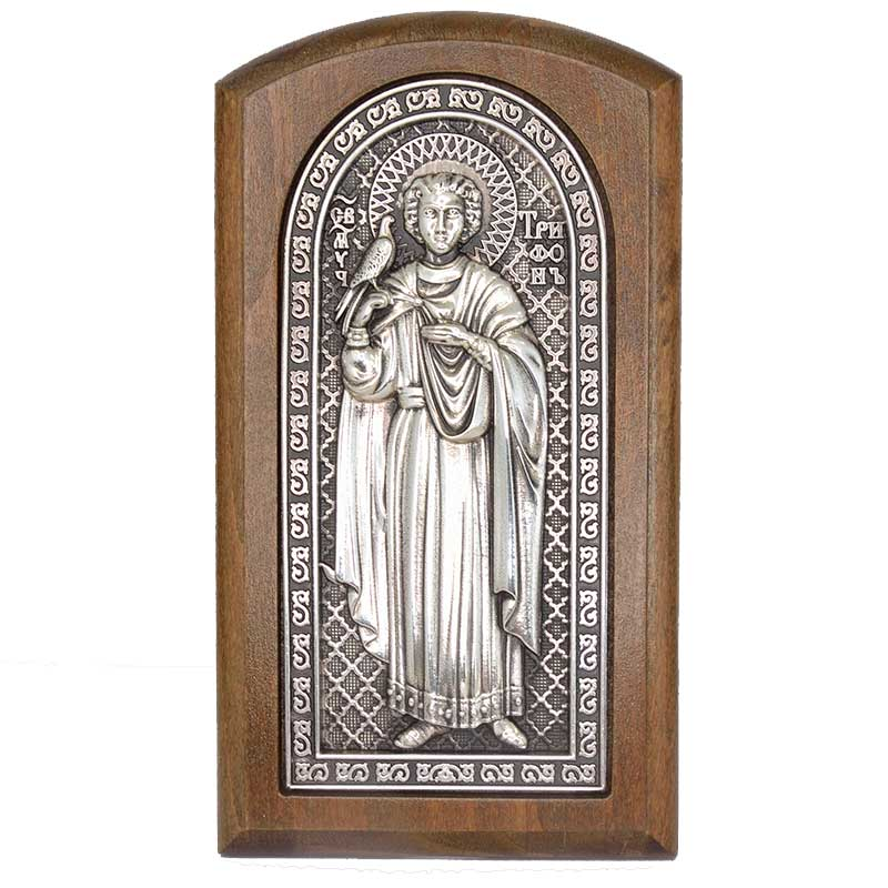 Серебряная икона Российская серебро Трифон