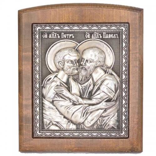 Серебряная икона Российская серебро Петр и Павел