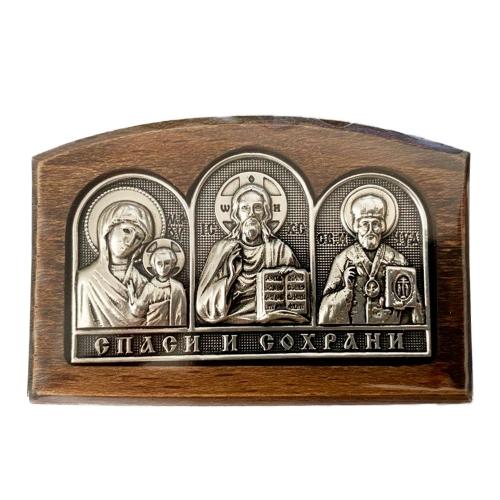 Серебряная икона Российская серебро Триптих