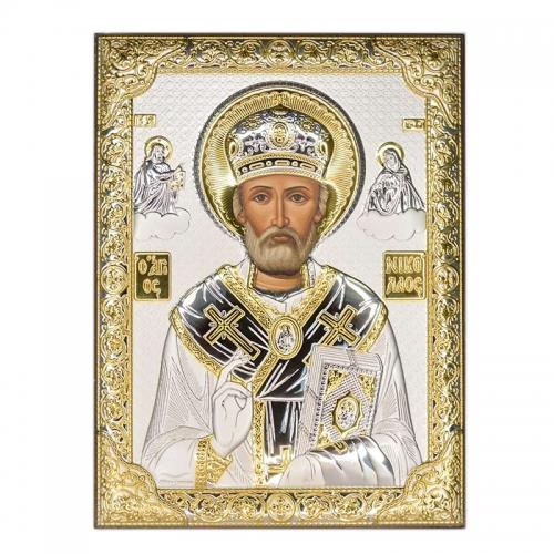 Серебряная икона Николай